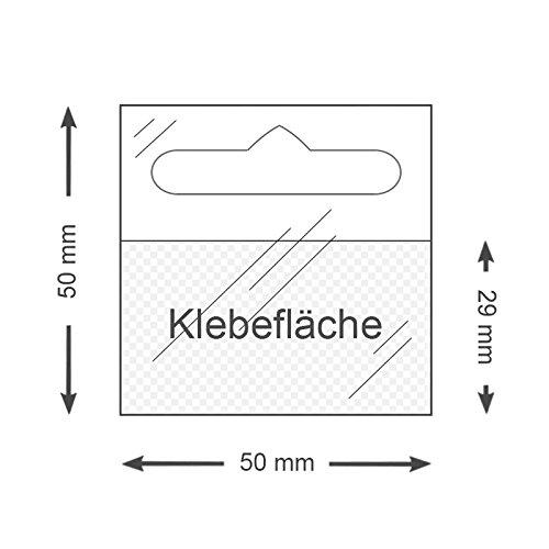 Preisvergleich Produktbild Eurolochaufhänger 50 mm x 50 mm | Flexibel, transparent, spitze Ecken | 100 oder 500 Stück | Blöcke mit je 10 Aufhängern | Selbstklebende Aufhänger mit Eurolochung für Lochwand | POS Aufhänger / 100 Stück