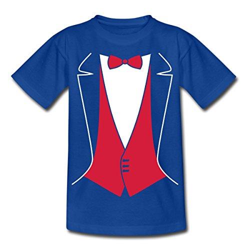 Spreadshirt Anzug Tuxedo Smoking Kinder T-Shirt, 98/104 (3-4 Jahre), Royalblau
