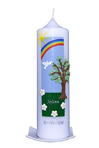 Taufkerze Baum mit Regenbogen (25x7cm). Den Beschriftungswunsch (Vorname und ein Datum) bitte an: info@artecera.com