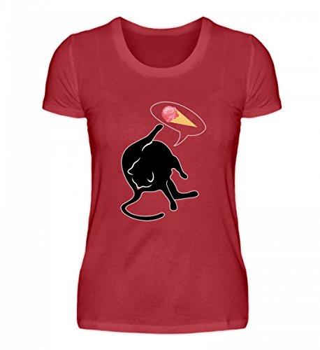 Hochwertiges Damen Organic Shirt - Katze leckt Sich Am Hintern und Denkt ES Sei Eiscreme - Katzenliebhaber Katzen Kätzchen Dunkelrot