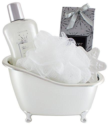 5-teiliges BRUBAKER Cosmetics \'Vanilla\' Bade-Geschenkset mit Badewanne silberfarben