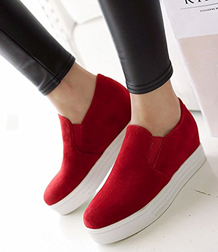 Aisun Femme Mode Basse Bout Rond Sneakers Rouge