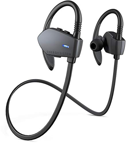 Energy Sistem Sport 1 - Auriculares Deportivos in-Ear (Sistema Secure-fit, Bluetooth, sin Cable) Gris