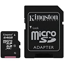 Kingston SDCX10/64GB - Tarjeta microSD de 64 GB (clase 10, UHS-I, adaptador SD), negro
