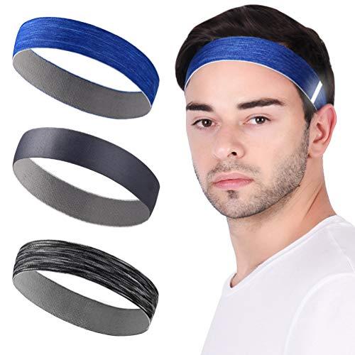 VBIGER 3 Stück Stirnbänder Sport Stirnband für Herren & Damen Elastische Haarband Schweißband Kopfband Sport Haarreife für Laufen Fahrrad Joggen Tennis Fußball Yoga Sport Fitness