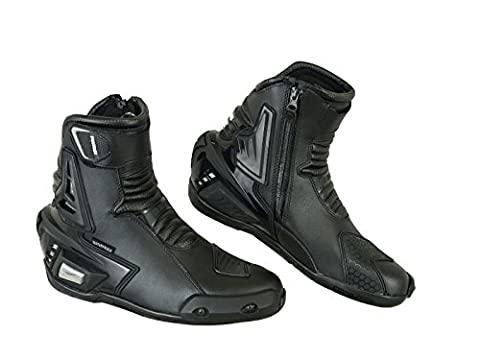 Pro First Genuine Leather Motorbike Armoured Boots Motorcycle Short Ankle Protection boot Shoes Anti Slip Racing Sports | Full Black, UK 8 / EU 42