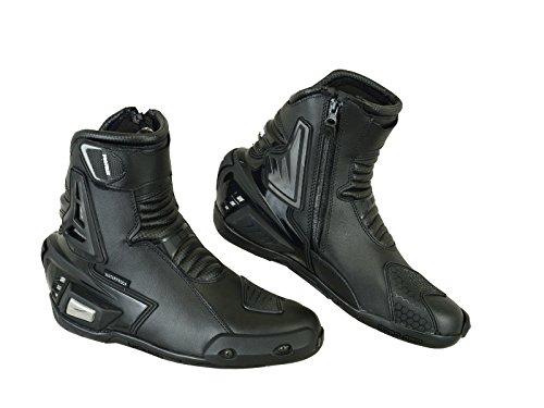 Pro First vera pelle stivali Armoured moto moto corto caviglia protezione bagagliaio scarpe antiscivolo Racing Sports | Full nero