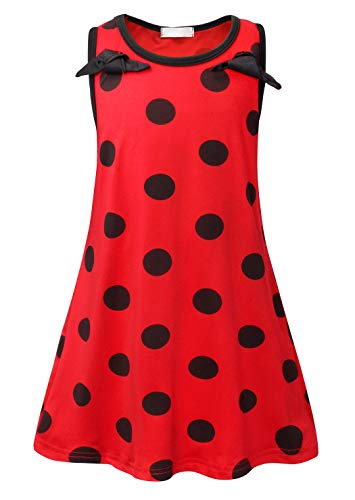 AmzBarley Miraculous Ladybug Kostüm Kleid Kinder Mädchen Marienkäfer Cosplay Kleider Schick Party Ankleiden Halloween Karneval Geburtstag Kleidung, Rot 02, 9-10 Jahre (Das Marienkäfer Kostüm Party)