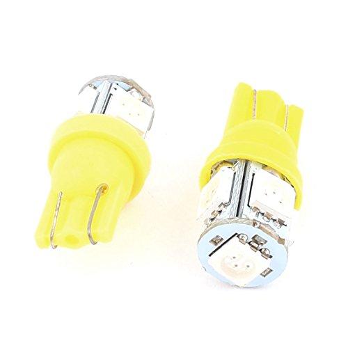 sourcingmap 2 Pcs T10 W5W Ampoule Jaune 5050 5-SMD LED Tableau de Bord Signal 12V Intérieur