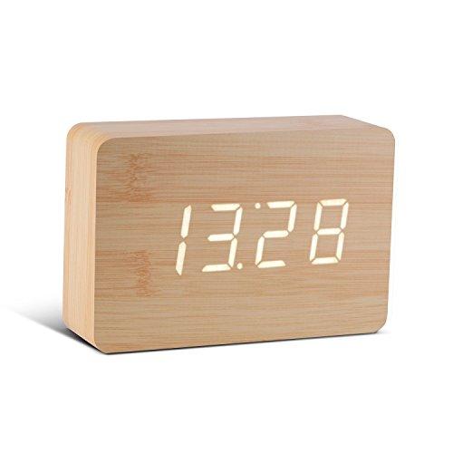 Gingko GK15W11 Digitaluhr \'Click Clock\' Ziegelsteinform, Buche mit weißer LED-Anzeige