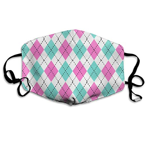 Argyle Valentine's Day, Valentine's Day Argyle, Girls Preppy, Preppy Argyle, Candy Mint and Bubblegum Dust Mask Anti Dust Pollution Mask Washable Polyester Mouth Mask with Adjustable Straps