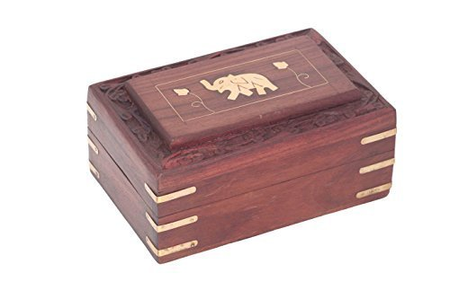 IndiaBigShop Hand geschnitzten hölzernen Schmuck Keepsake Box Multi-Utility Aufbewahrungsbox Schmuck Organizer Box mit Elephant Design - Größe 6 X 4 Zoll Utility-organizer-box
