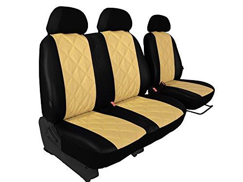 Preisvergleich Produktbild Sitzbezug für Bus/Transporter maßgefertigt 1 + 2 Sitzer ECO -Leder diagonal gesteppt in 5 Farben (VW T3, BEIGE)