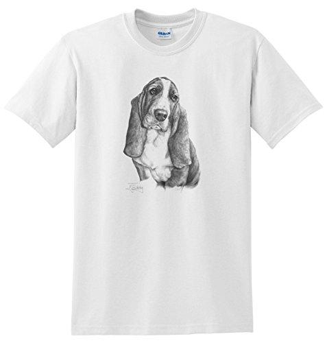 Basset-hound-shirt (Mike Sibley Basset Hound T Shirt Gr. L, Weiß - Weiß)