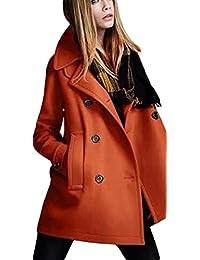 YOUJIA Trenchcoat für Damen Zweireihige Revers Winterjacke mit Tasche  Modisch Wollmischung Mantel Parka 71989cf967