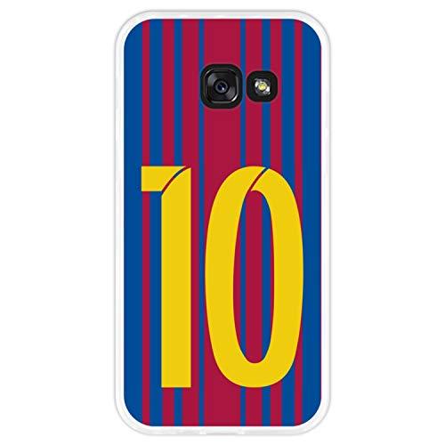 Hapdey silikon Hülle für [Samsung Galaxy A3 2017] mit gestempelt, Design [Fußballillustration mit Nr. 10] Farbe [Transparenz] Smartphone, Foto