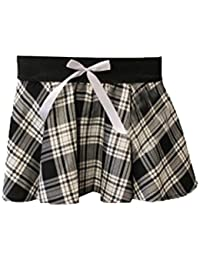 9 Inch Women's Sexy Tartan Skirt Schoolgirl Fancy Dress Costume (Black & White)