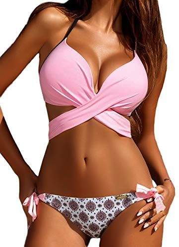 INSTINNCT Damen Push-up Neckholder Bikini Set mit Bügel Bikinioberteil mit Nackenträger Seitlich Gebunden Bikinihose Rosa XL