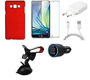 NIROSHA Tempered Glass Screen Guard Cover Case Charger Mobile Holder car for Samsung Galaxy ON5 - Combo