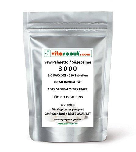 750 Tabletten Saw Palmetto Extrakt - Sägepalme 3000 - HÖCHSTE DOSIERUNG! - PN: 01071886