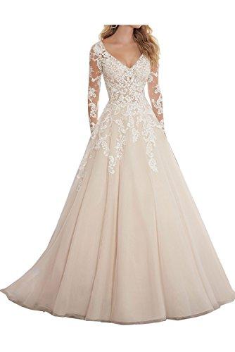Ivydressing Damen Modern Lang Arm V-Ausschnitt Abendkleider Hochzeitskleider Spitze...