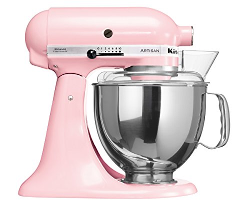 KitchenAid Artisan 5KSM150PSDPK 10 Speed 4.7 Litre (5Qt) 300 Watt Tilt Head Stand Mixer with Flat Beater, Dough Hook, Whisk, Stainless Steel Bowl & Pouring Shield (Pink)