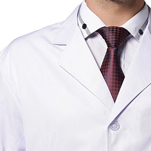 Harson&Jane Männer Arzt Arbeitskleidung und Medical Lab White Coat Uniform Größen (Lange ärmel, XL) - 3
