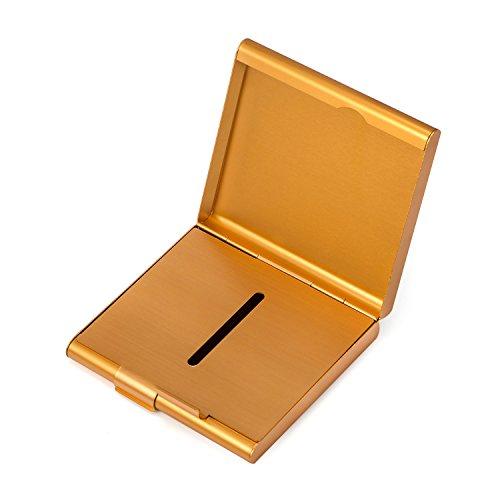Boîte à Cigarette Métal Etui 20 Cigarettes Métallique Cuir Rangement de Cigarettes Porte-cigarettes homme(Femmes),Or…