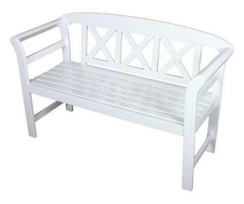 Benelando 2-Sitzer Gartenbank aus Eukalyptusholz in weiß