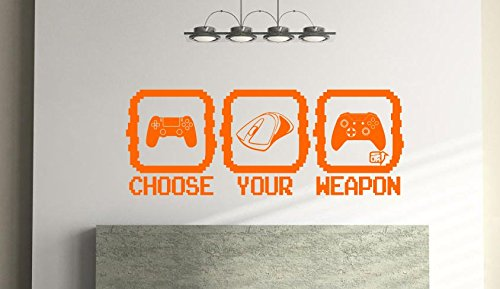 Price comparison product image Choose Your Weapon -Gamer Wall art for kids Bedroom,  Play room Vinyl wall Sticker (57cm x 23cm) Free 1st Class Postage (Orange)