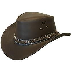 Unisex Marrón Safari de Cuero Arbusto Australiano Cowboy Style Clásico Occidental Outback Sombrero XL