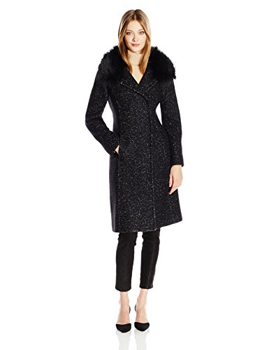 Elie Tahari womens  Anna Tailored Fitted Wool Coat With Real Fur Collar Wool Coats