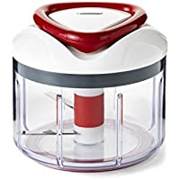 Zyliss Stainless Steel and Plastic EasyPull Food Processor, 750 ml - White/Grey/Red
