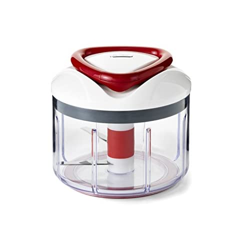 41kGyflfDlL. SS500  - Zyliss E910015 Easy Pull Food Processor - Dishwasher Safe, Manual Food Processor with Handle, in a Compact Design for Quick Slicing and Dicing White/Grey/Red