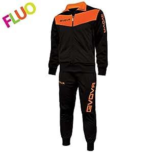 Givova Abbigliamento Sportivo Traicksuit Tuta Visa Nero-arancio fluo XL