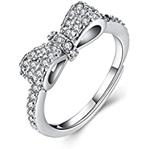HMILYDYK Lady Noble Swarovski Zirconia crystal Boda Banda Plata Cz Bow Tie lazo abierto anillo