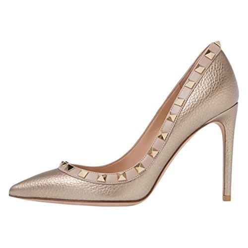 EKS Damen Fllosacf Patch Arbeitskante mit Nieten Stollen High Heels Pointed Toe Pumps Kleid Schuhe Linien-Gold 40 EU