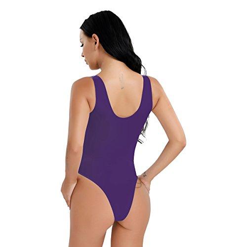 CHICTRY Damen Ärmellos Body Stringbody Hohe geschnitten Thong Leotard Lingerie transparent Unterhemd Einteiler Bodysuit - Einheitsgröße Dunkel