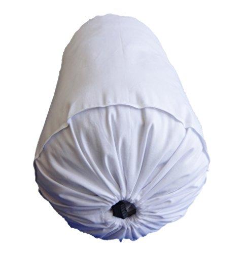 Safran Nackenrolle Kissenbezug Dekorative Bett Nackenrolle Runde Weiß Kissenbezug Baumwolle 25,4cm Durchmesser x 76,2cm lang (25cm Durchmesser x 76cm lang) abnehmbarer Bezug