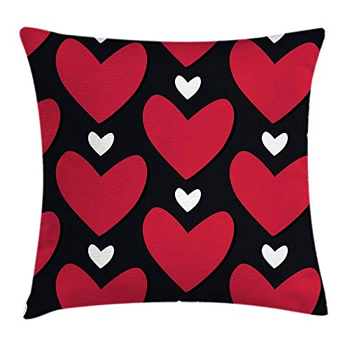 Valentines Throw Pillow Cushion Cover, Romantic Heart Shapes Doodle Love Theme Anniversary Artful Illustration, Decorative Square Accent Pillow Case, 18 X 18 Inches, Ruby Black White