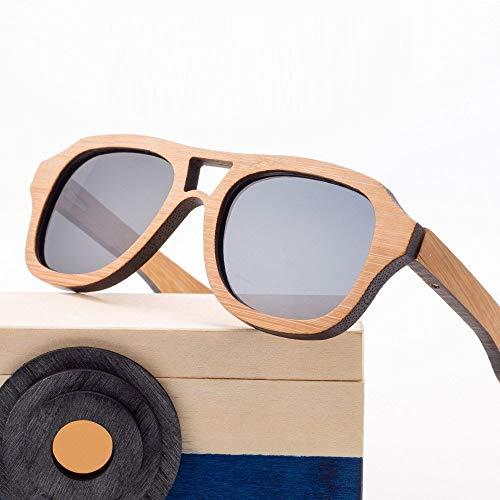 Sonnenbrille Jungen, Polarisierte verstellbare Bambusbrille mit UVA/UVB-Rahmen für Reisen, Outdoor-Sport und Aktivitäten (Color : Gray)