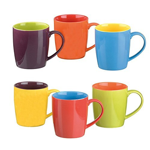 Colourful Cups & Mugs Set of 6 Harlequin Latte Mugs, Assorted Colors by Colourful Cups & Mugs