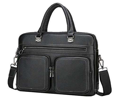 Asge Herren Ledertasche Vintage Handtasche Umhängetasche Leder Aktentasche Classic Messenger Bag a4 Arbeitstasche Männer Businesstasche Laptoptasche 15.6 Zoll - Classic Messenger Bag