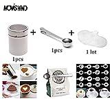 Casavidas 3-teilige Multi-Kaffee-Utensilien Kaffee-Zubehör Kaffee-Shaker Barista Schablonen und Taschen-Clip Schaufel
