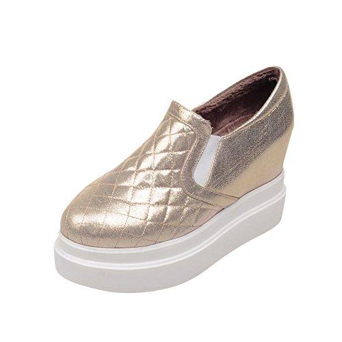 Mee Shoes Damen modern bequem populär tief Mund plaid mit Samt Gummiband invisible Heel Durchgängiges Plateau Pumps Gold