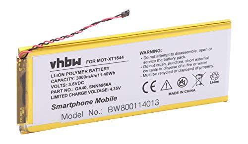 vhbw litio-polimeri batteria 3000mAh (3.8V) per cellulari e smartphone Motorola Moto G4 Plus, XT1644