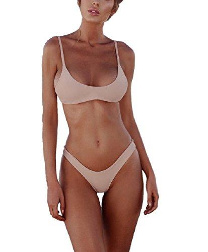 UMIPUBO Fashion Damen Bikini Low-Waist Triangle Bikini-Sets Bustier Badeanzüge Sexy Beachwear Zwei Stück Sportlich Bademode 2018 (L, Rosa)