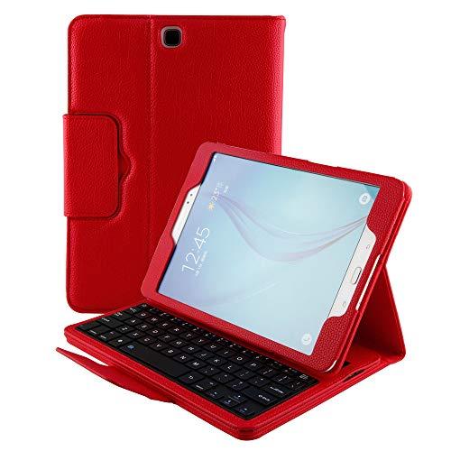 Hülle für Samsung Galaxy Tab A 9.7 SM-T550 Smart Cover Schutzhülle Premium Leder Folio Magnetische Abnehmbare Wireless Tastatur mit Standfunktion Auto Sleep/Wake Slim Flip, rot ()