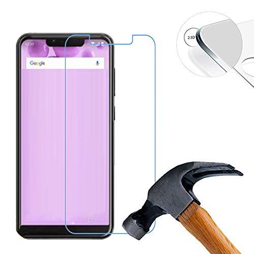 Lusee 2 X Pack Panzerglasfolie für Wiko View 2 Go 5.93 Zoll Tempered Glass Hartglas Schutzfolie Folie Bildschirmschutz 9H (Nur den flachen Teil abdecken)
