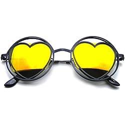 Emblem Eyewear - Gafas De Sol De Las Mujeres Ronda Corazón Metal Forma Círculo Hippie (Negro)